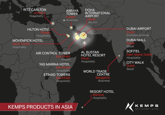 Map of Asia projects
